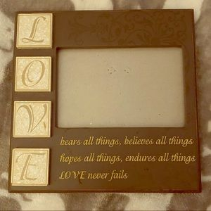 Other - Picture frame ~ LOVE ~ brown and cream colored